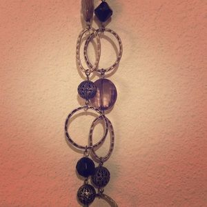 Jewelry - Long necklace. Black, purple and silver